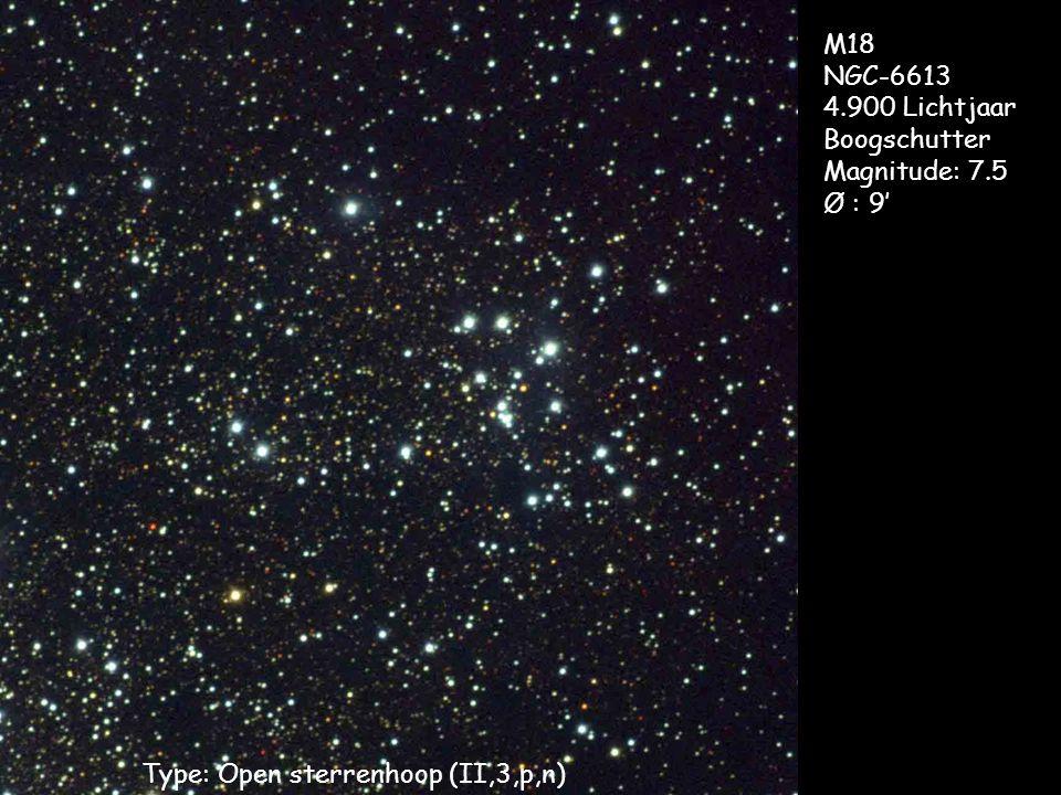 Type: Open sterrenhoop (II,3,p,n) M18 NGC-6613 4.900 Lichtjaar Boogschutter Magnitude: 7.5 Ø : 9'