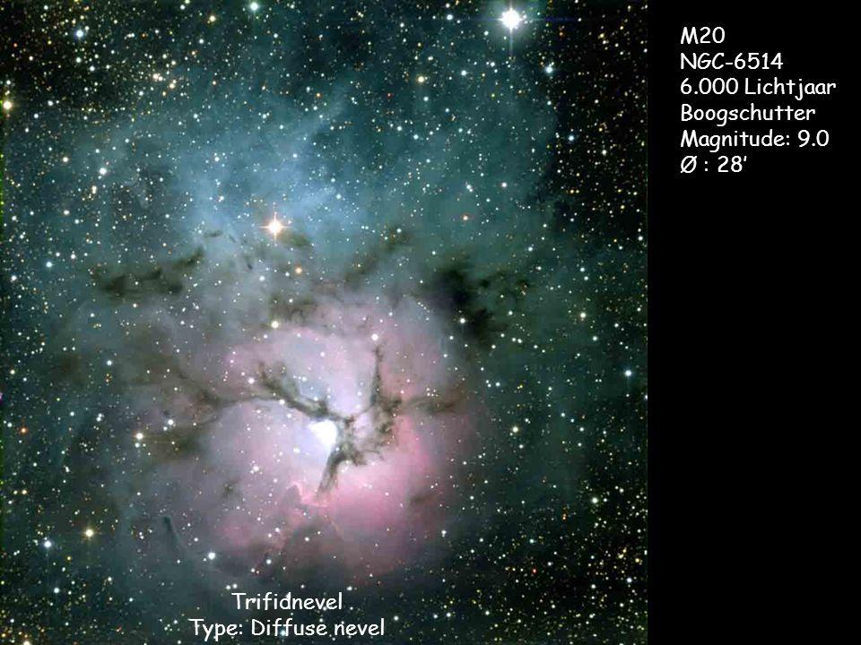 Trifidnevel Type: Diffuse nevel M20 NGC-6514 6.000 Lichtjaar Boogschutter Magnitude: 9.0 Ø : 28'
