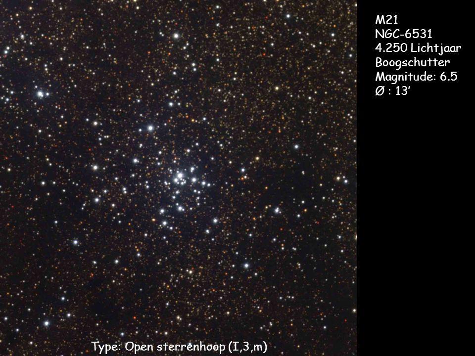 Type: Open sterrenhoop (I,3,m) M21 NGC-6531 4.250 Lichtjaar Boogschutter Magnitude: 6.5 Ø : 13'