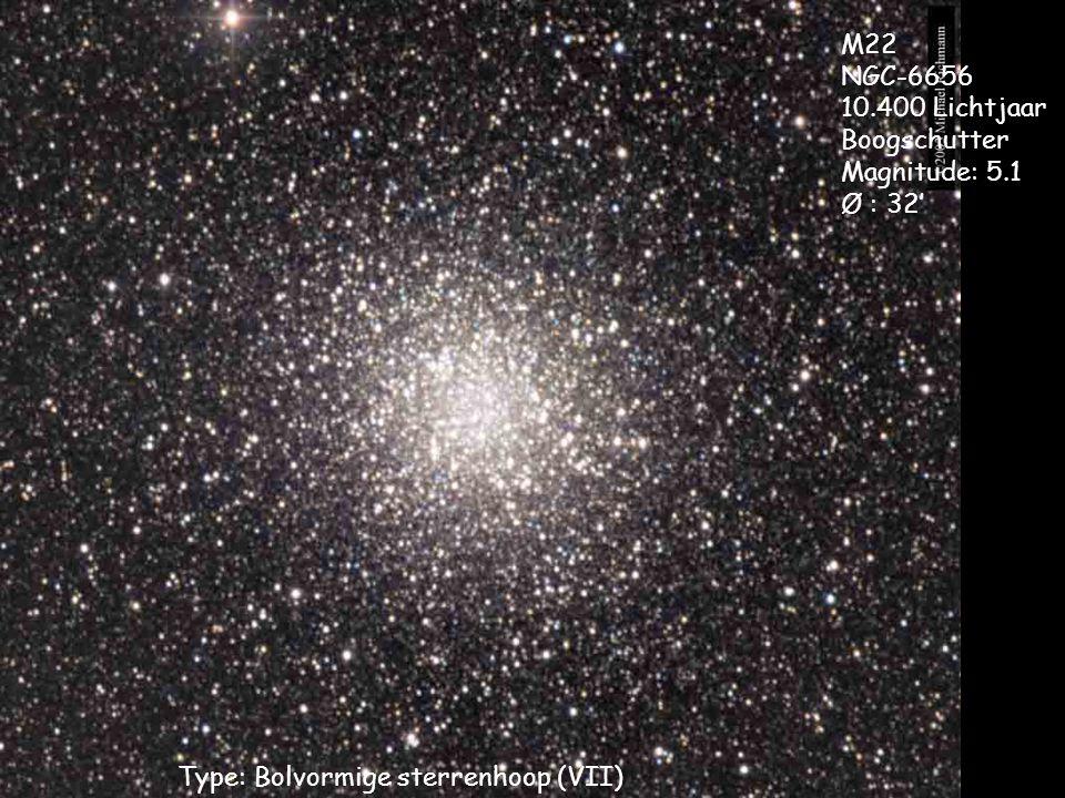 Type: Bolvormige sterrenhoop (VII) M22 NGC-6656 10.400 Lichtjaar Boogschutter Magnitude: 5.1 Ø : 32'