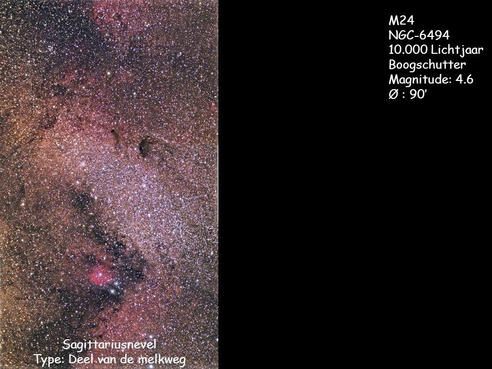 Sagittariusnevel Type: Deel van de melkweg M24 NGC-6494 10.000 Lichtjaar Boogschutter Magnitude: 4.6 Ø : 90'