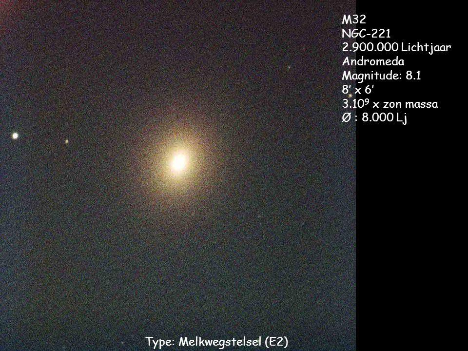 Type: Melkwegstelsel (E2) M32 NGC-221 2.900.000 Lichtjaar Andromeda Magnitude: 8.1 8' x 6' 3.10 9 x zon massa Ø : 8.000 Lj