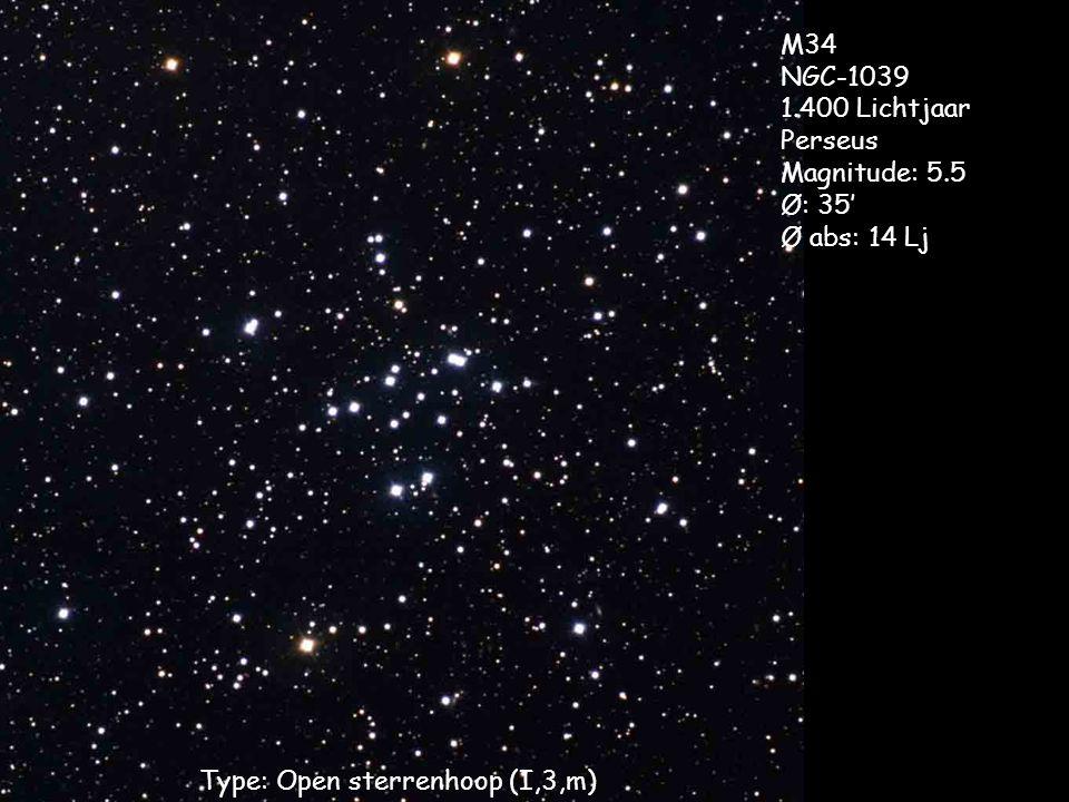 Type: Open sterrenhoop (I,3,m) M34 NGC-1039 1.400 Lichtjaar Perseus Magnitude: 5.5 Ø: 35' Ø abs: 14 Lj