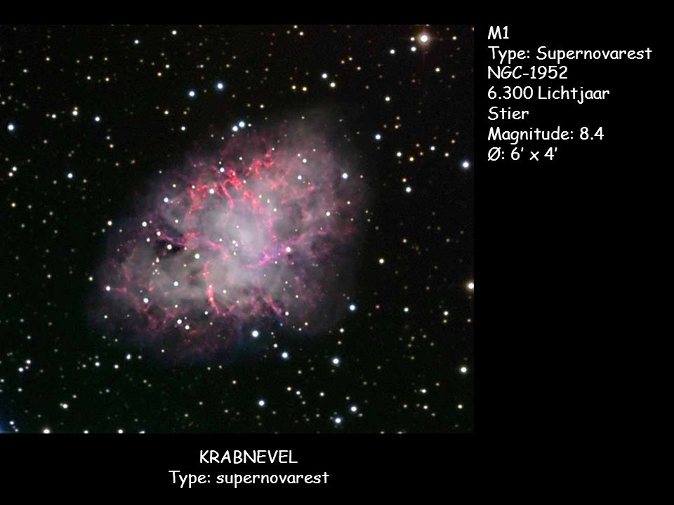 Orionnevel Type: Diffuse nevel M42 NGC-1976 1.600 Lichtjaar Orion Magnitude: 4.0 Ø: 85' x 60' M43
