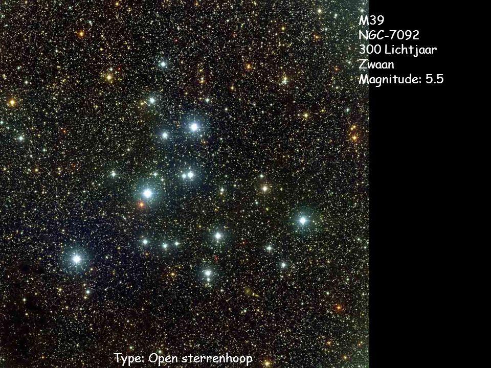Type: Open sterrenhoop M39 NGC-7092 300 Lichtjaar Zwaan Magnitude: 5.5