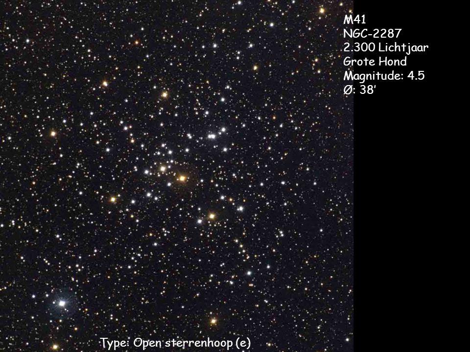 Type: Open sterrenhoop (e) M41 NGC-2287 2.300 Lichtjaar Grote Hond Magnitude: 4.5 Ø: 38'