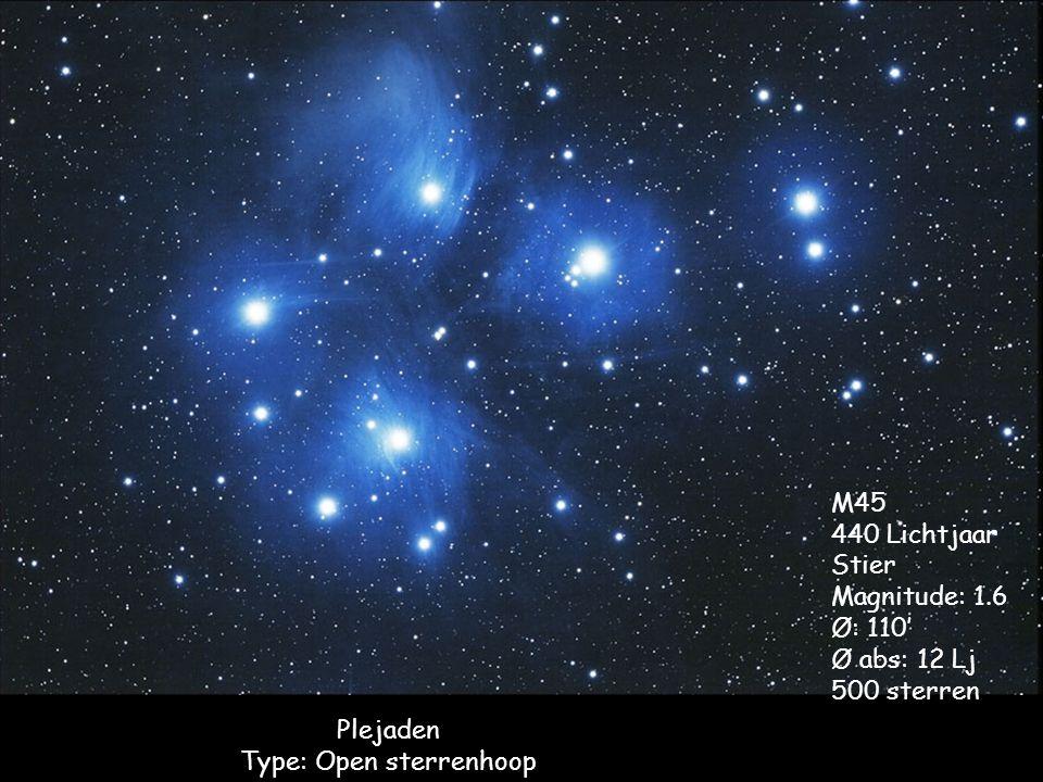 Plejaden Type: Open sterrenhoop M45 440 Lichtjaar Stier Magnitude: 1.6 Ø: 110' Ø abs: 12 Lj 500 sterren