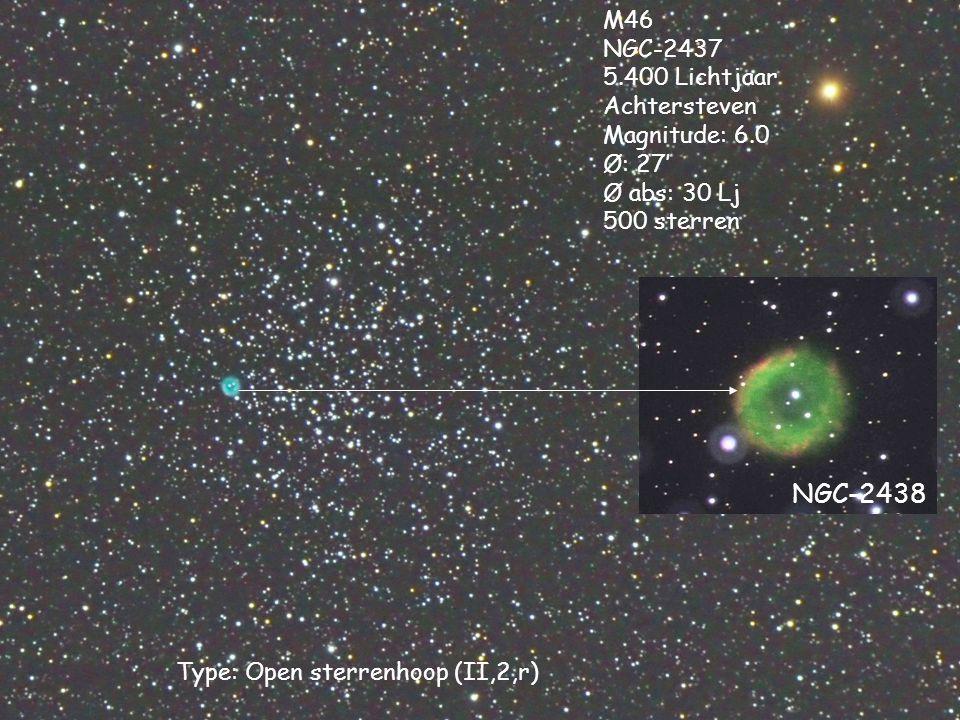 Type: Open sterrenhoop (II,2,r) M46 NGC-2437 5.400 Lichtjaar Achtersteven Magnitude: 6.0 Ø: 27' Ø abs: 30 Lj 500 sterren NGC-2438