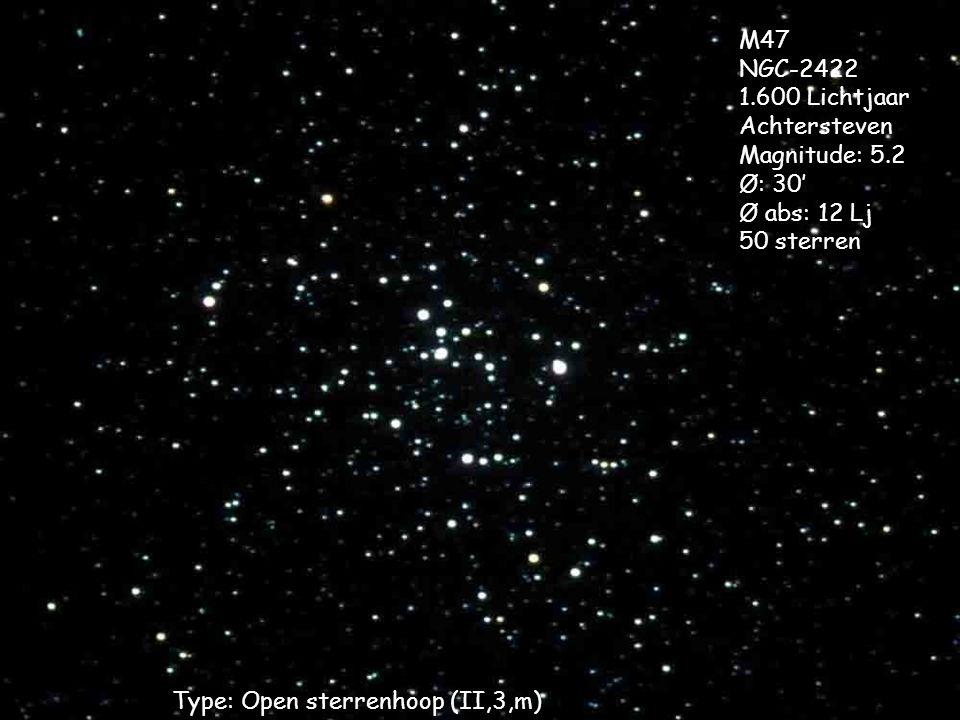 Type: Open sterrenhoop (II,3,m) M47 NGC-2422 1.600 Lichtjaar Achtersteven Magnitude: 5.2 Ø: 30' Ø abs: 12 Lj 50 sterren