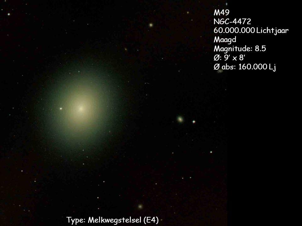 Type: Melkwegstelsel (E4) M49 NGC-4472 60.000.000 Lichtjaar Maagd Magnitude: 8.5 Ø: 9' x 8' Ø abs: 160.000 Lj