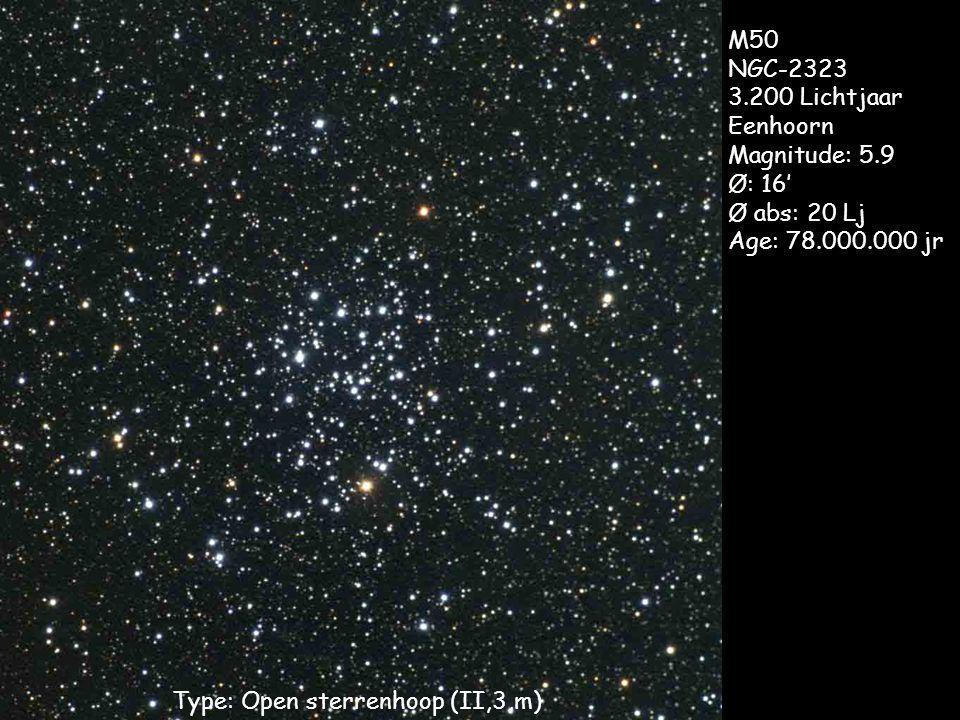 Type: Open sterrenhoop (II,3,m) M50 NGC-2323 3.200 Lichtjaar Eenhoorn Magnitude: 5.9 Ø: 16' Ø abs: 20 Lj Age: 78.000.000 jr