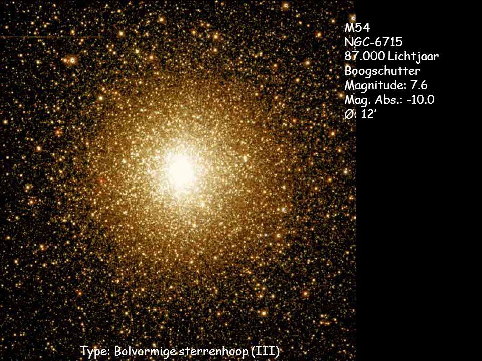 Type: Bolvormige sterrenhoop (III) M54 NGC-6715 87.000 Lichtjaar Boogschutter Magnitude: 7.6 Mag. Abs.: -10.0 Ø: 12'