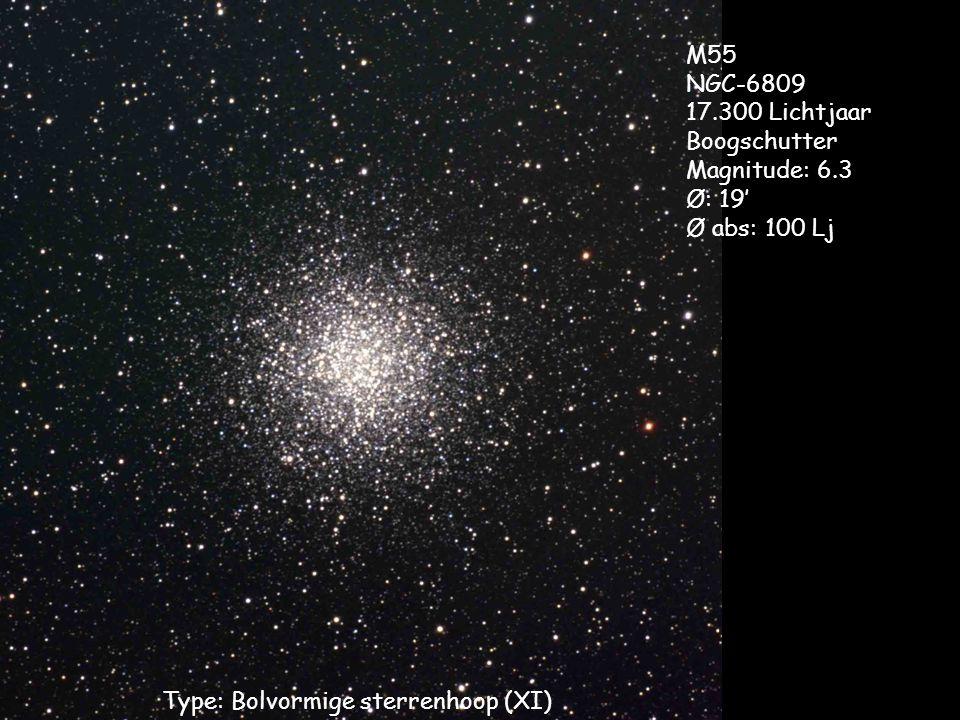 Type: Bolvormige sterrenhoop (XI) M55 NGC-6809 17.300 Lichtjaar Boogschutter Magnitude: 6.3 Ø: 19' Ø abs: 100 Lj