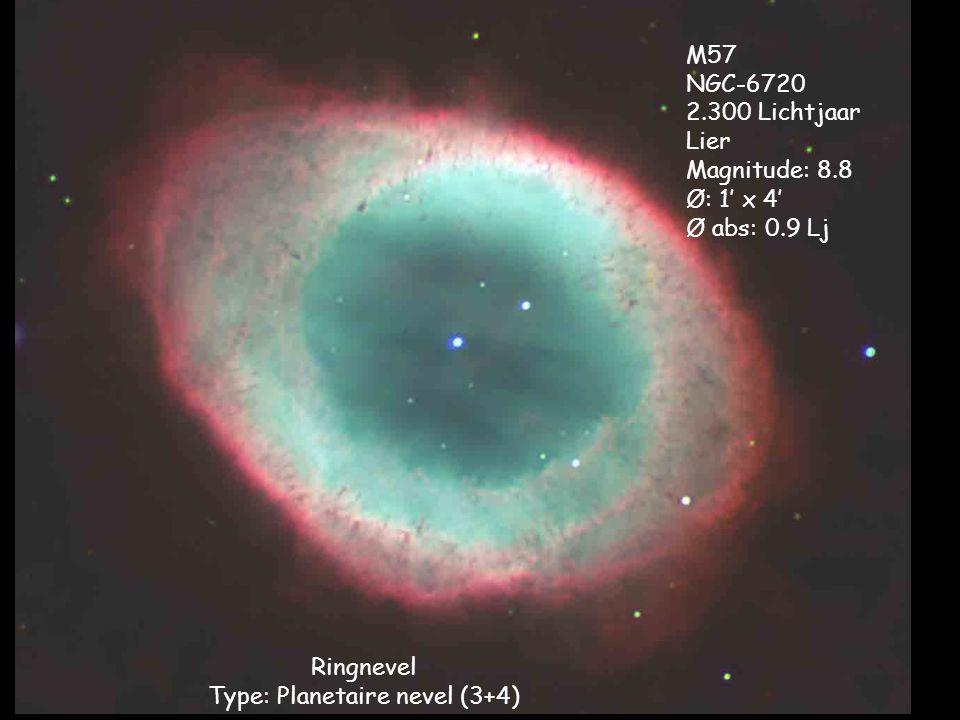 Ringnevel Type: Planetaire nevel (3+4) M57 NGC-6720 2.300 Lichtjaar Lier Magnitude: 8.8 Ø: 1' x 4' Ø abs: 0.9 Lj