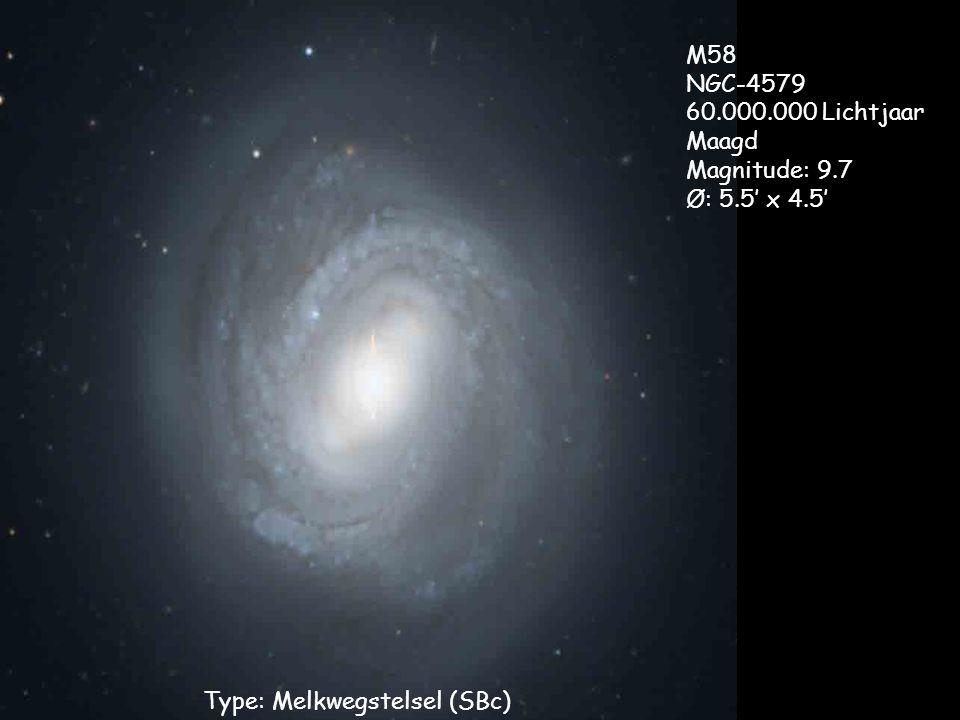 Type: Melkwegstelsel (SBc) M58 NGC-4579 60.000.000 Lichtjaar Maagd Magnitude: 9.7 Ø: 5.5' x 4.5'