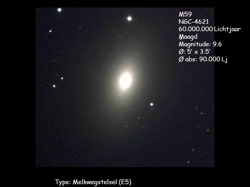 Type: Melkwegstelsel (E5) M59 NGC-4621 60.000.000 Lichtjaar Maagd Magnitude: 9.6 Ø: 5' x 3.5' Ø abs: 90.000 Lj