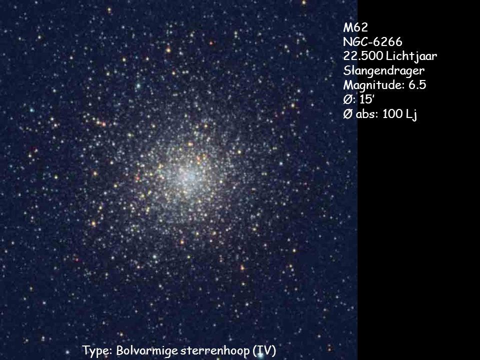 Type: Bolvormige sterrenhoop (IV) M62 NGC-6266 22.500 Lichtjaar Slangendrager Magnitude: 6.5 Ø: 15' Ø abs: 100 Lj