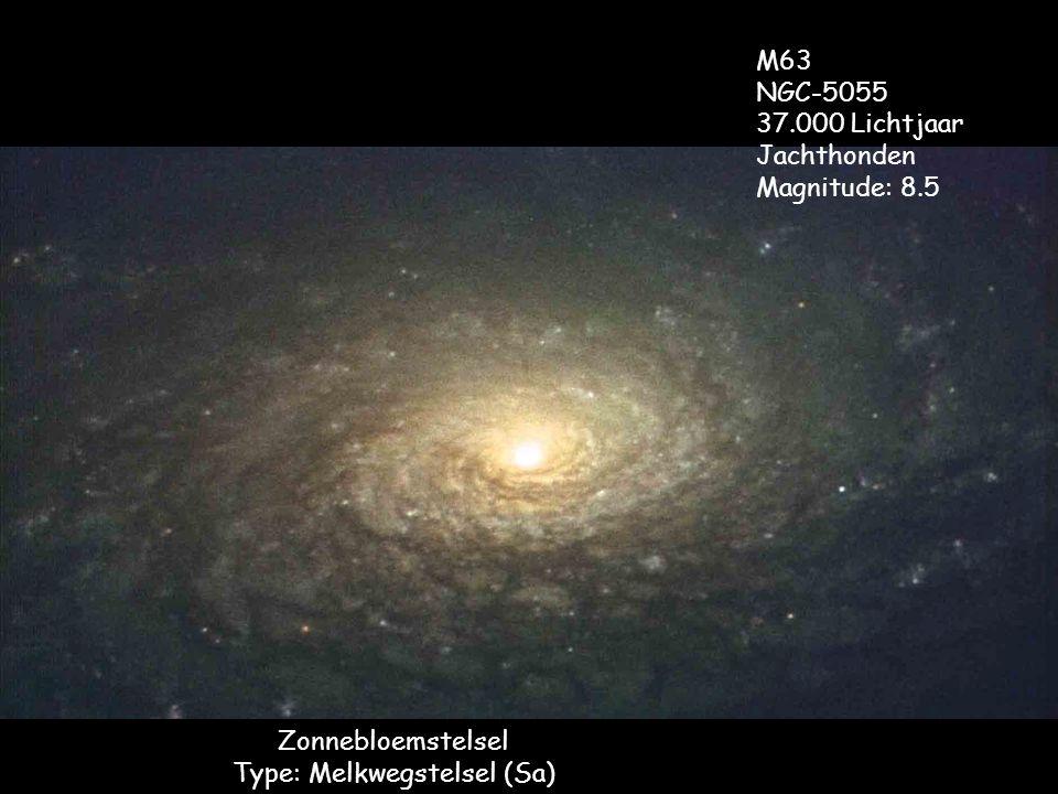Zonnebloemstelsel Type: Melkwegstelsel (Sa) M63 NGC-5055 37.000 Lichtjaar Jachthonden Magnitude: 8.5