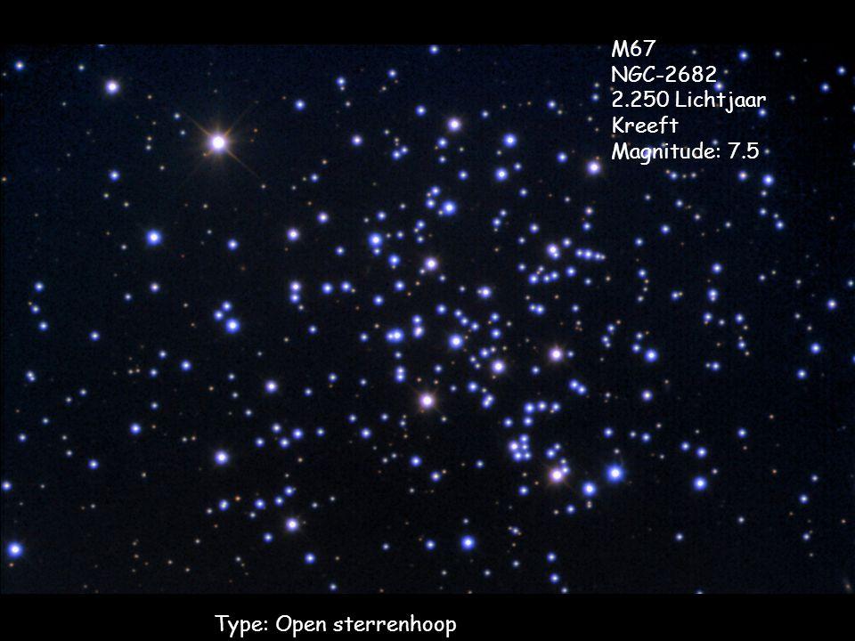 Type: Open sterrenhoop M67 NGC-2682 2.250 Lichtjaar Kreeft Magnitude: 7.5