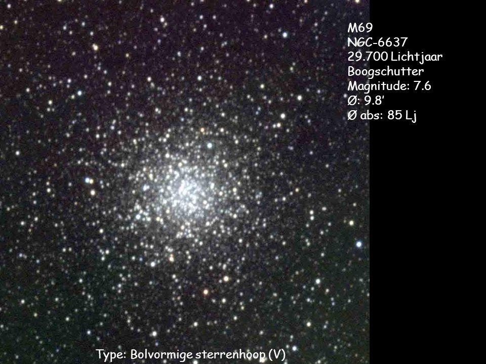 Type: Bolvormige sterrenhoop (V) M69 NGC-6637 29.700 Lichtjaar Boogschutter Magnitude: 7.6 Ø: 9.8' Ø abs: 85 Lj