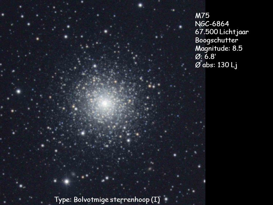 Type: Bolvotmige sterrenhoop (I) M75 NGC-6864 67.500 Lichtjaar Boogschutter Magnitude: 8.5 Ø: 6.8' Ø abs: 130 Lj
