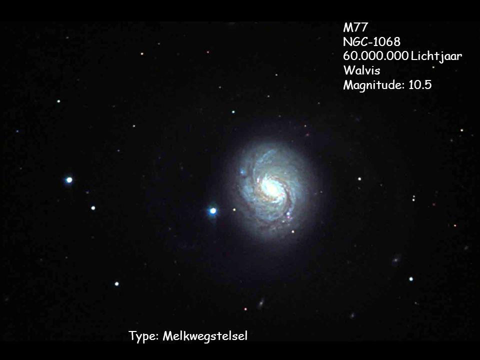 Type: Melkwegstelsel M77 NGC-1068 60.000.000 Lichtjaar Walvis Magnitude: 10.5