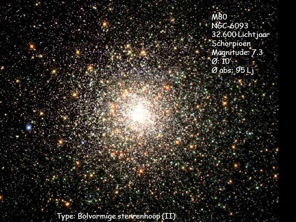 Type: Bolvormige sterrenhoop (II) M80 NGC-6093 32.600 Lichtjaar Schorpioen Magnitude: 7.3 Ø: 10' Ø abs: 95 Lj
