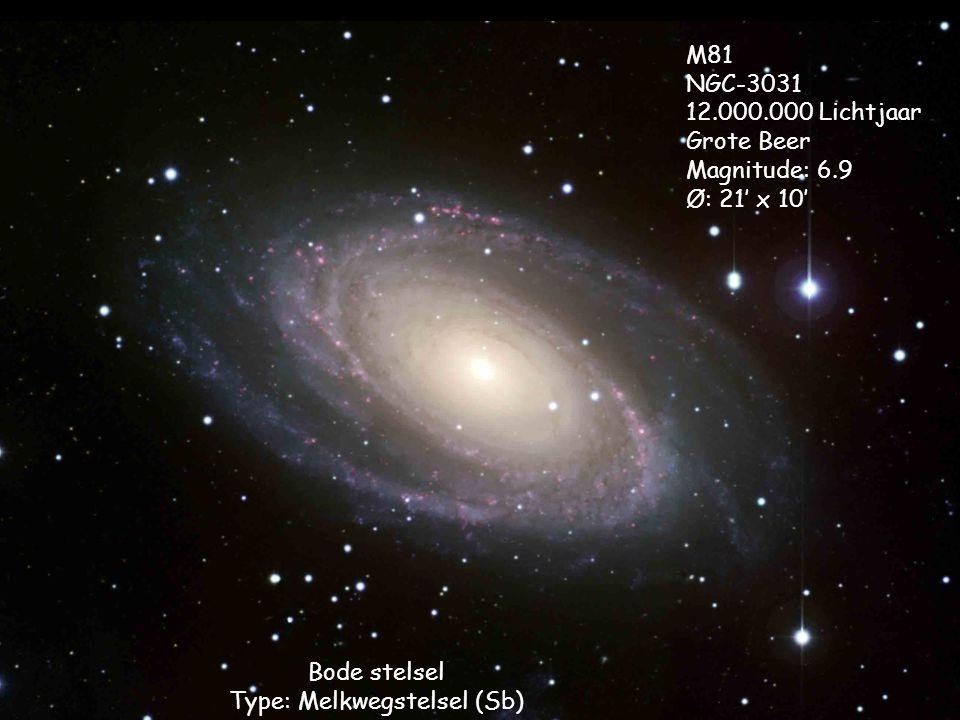 Bode stelsel Type: Melkwegstelsel (Sb) M81 NGC-3031 12.000.000 Lichtjaar Grote Beer Magnitude: 6.9 Ø: 21' x 10'