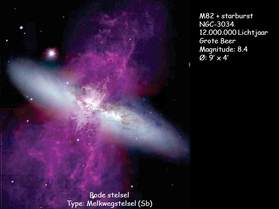 Bode stelsel Type: Melkwegstelsel (Sb) M82 + starburst NGC-3034 12.000.000 Lichtjaar Grote Beer Magnitude: 8.4 Ø: 9' x 4'