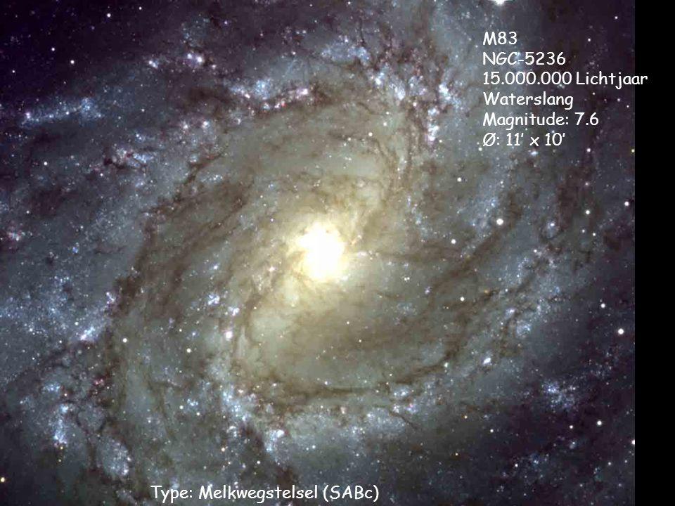 Type: Melkwegstelsel (SABc) M83 NGC-5236 15.000.000 Lichtjaar Waterslang Magnitude: 7.6 Ø: 11' x 10'