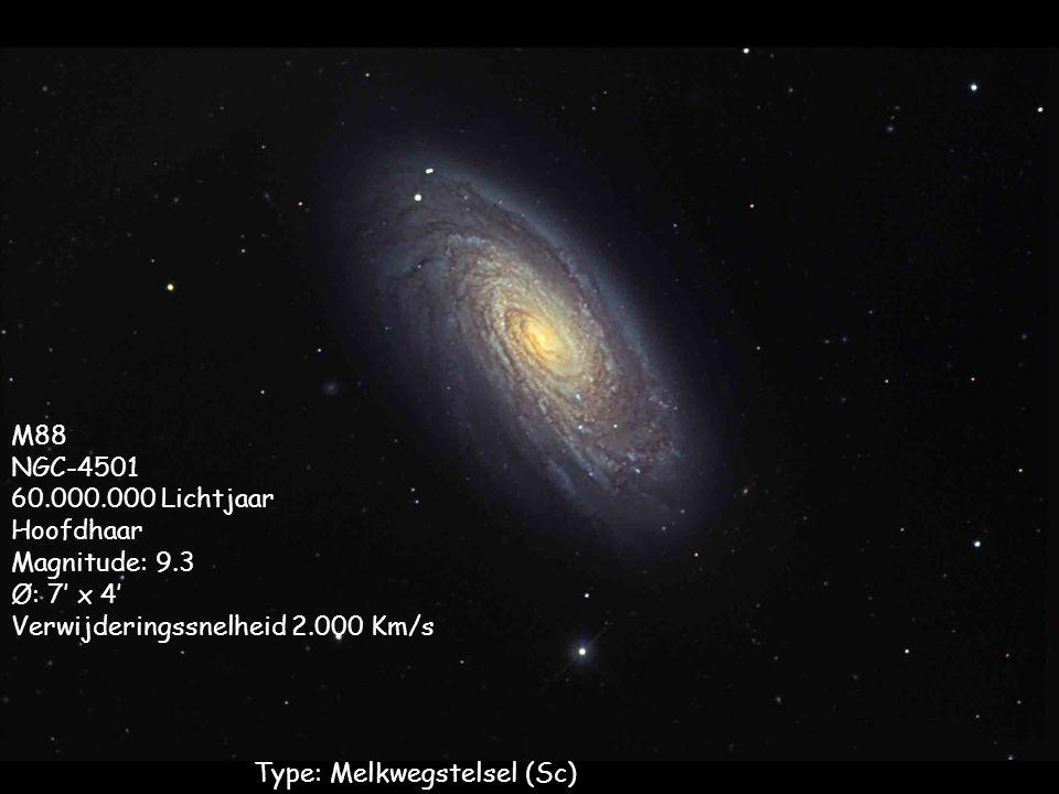 Type: Melkwegstelsel (Sc) M88 NGC-4501 60.000.000 Lichtjaar Hoofdhaar Magnitude: 9.3 Ø: 7' x 4' Verwijderingssnelheid 2.000 Km/s