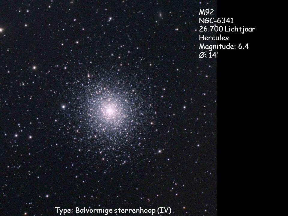 Type: Bolvormige sterrenhoop (IV) M92 NGC-6341 26.700 Lichtjaar Hercules Magnitude: 6.4 Ø: 14'
