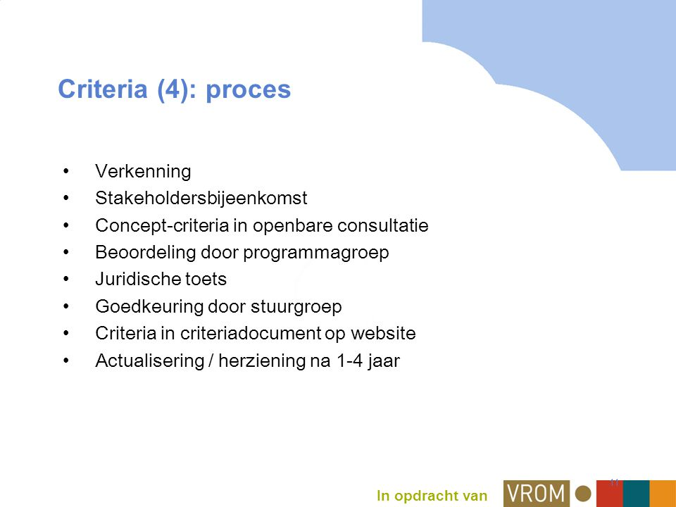 In opdracht van 11 Criteria (4): proces Verkenning Stakeholdersbijeenkomst Concept-criteria in openbare consultatie Beoordeling door programmagroep Juridische toets Goedkeuring door stuurgroep Criteria in criteriadocument op website Actualisering / herziening na 1-4 jaar