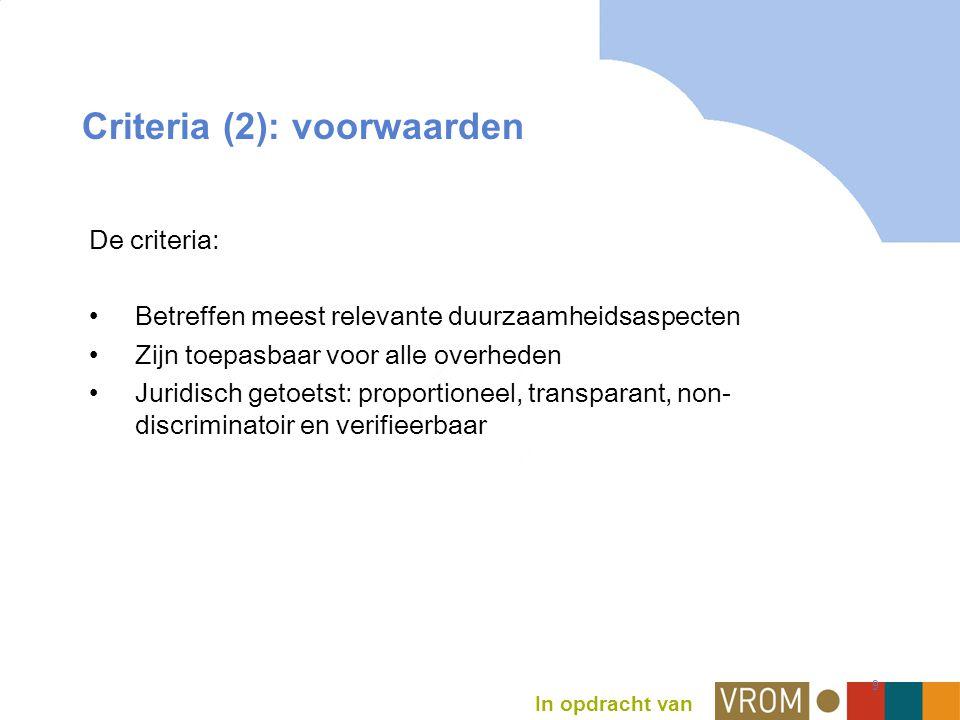 In opdracht van 9 Criteria (2): voorwaarden De criteria: Betreffen meest relevante duurzaamheidsaspecten Zijn toepasbaar voor alle overheden Juridisch getoetst: proportioneel, transparant, non- discriminatoir en verifieerbaar