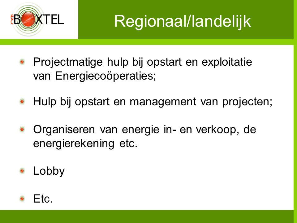 Regionaal/landelijk Projectmatige hulp bij opstart en exploitatie van Energiecoöperaties; Hulp bij opstart en management van projecten; Organiseren van energie in- en verkoop, de energierekening etc.