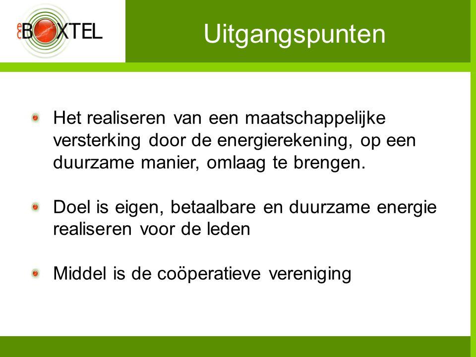 Uitgangspunten Het realiseren van een maatschappelijke versterking door de energierekening, op een duurzame manier, omlaag te brengen.