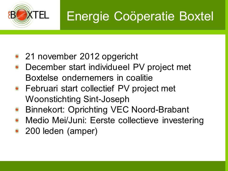 Energie Coöperatie Boxtel 21 november 2012 opgericht December start individueel PV project met Boxtelse ondernemers in coalitie Februari start collect