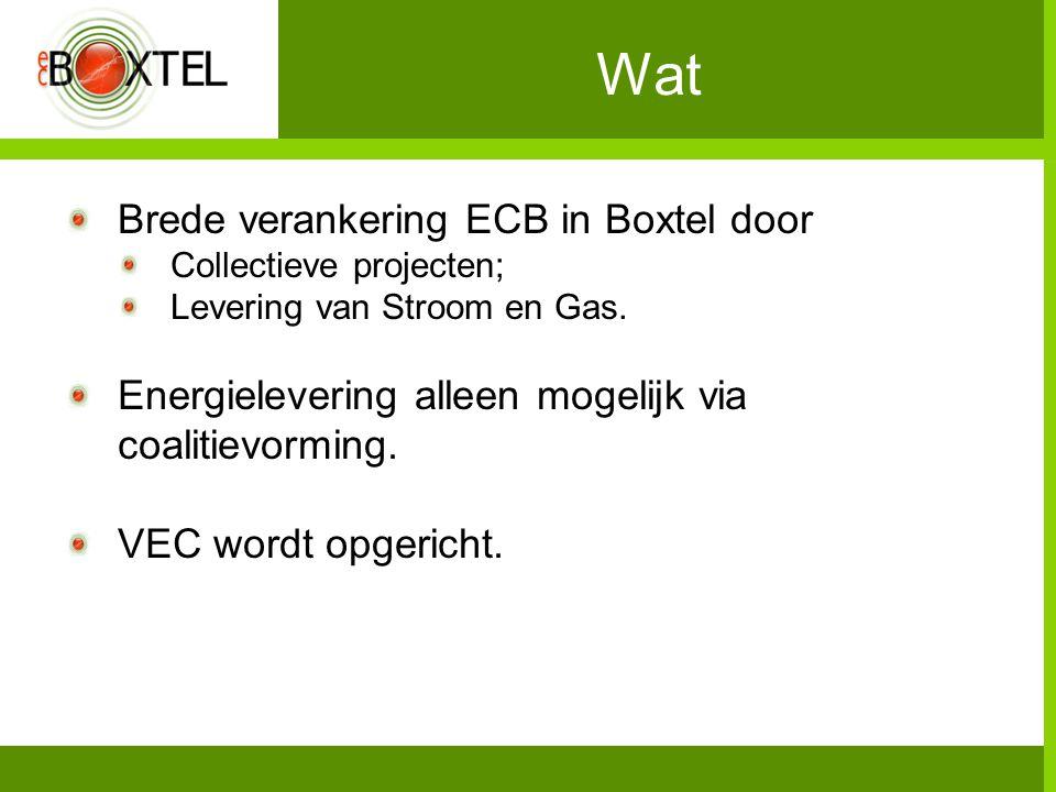 Wat Brede verankering ECB in Boxtel door Collectieve projecten; Levering van Stroom en Gas. Energielevering alleen mogelijk via coalitievorming. VEC w
