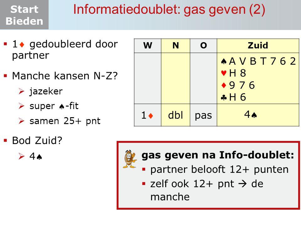 Start Bieden Informatiedoublet: gas geven (2)  1 gedoubleerd door partner  Manche kansen N-Z?  jazeker  super -fit  samen 25+ pnt  Bod Zuid? 