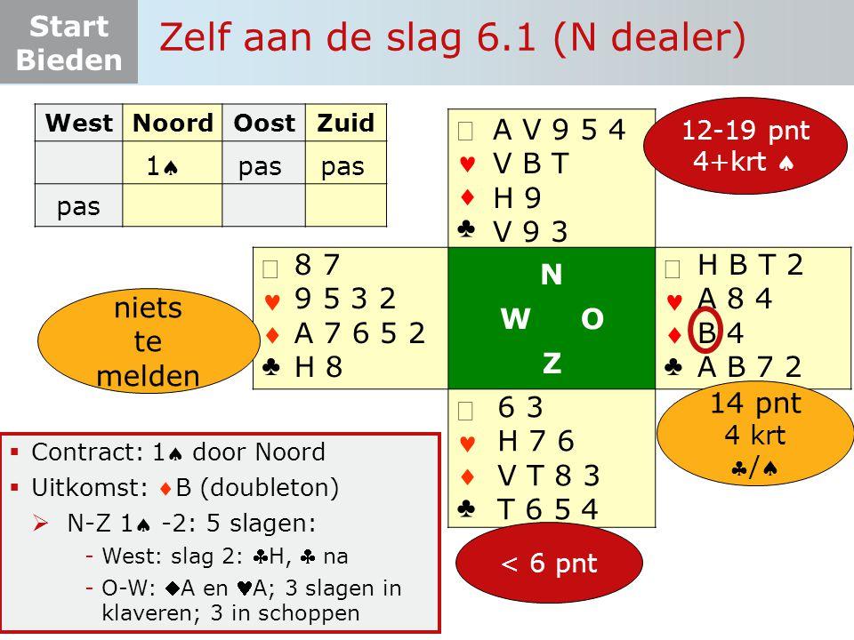Start Bieden Zelf aan de slag 6.1 (N dealer)   ♣   ♣ N W O Z   ♣   ♣  Contract: 1 door Noord  Uitkomst: B (doubleton)  N-Z 1 -2: 5 slage