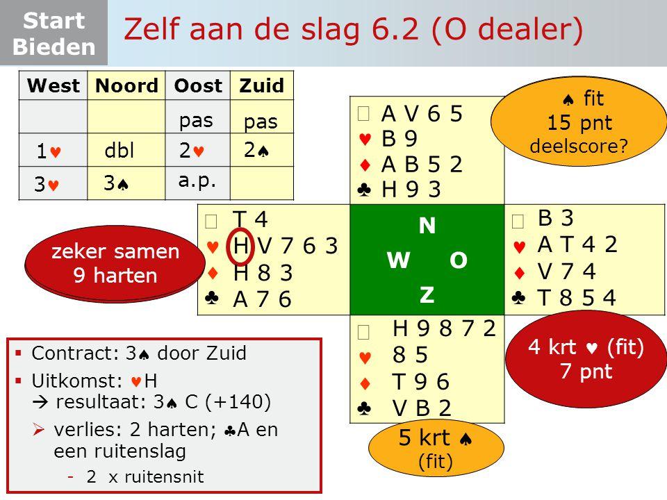 Start Bieden   ♣   ♣ N W O Z   ♣   ♣  Contract: 3 door Zuid  Uitkomst: H  resultaat: 3 C (+140)  verlies: 2 harten; A en een ruitenslag