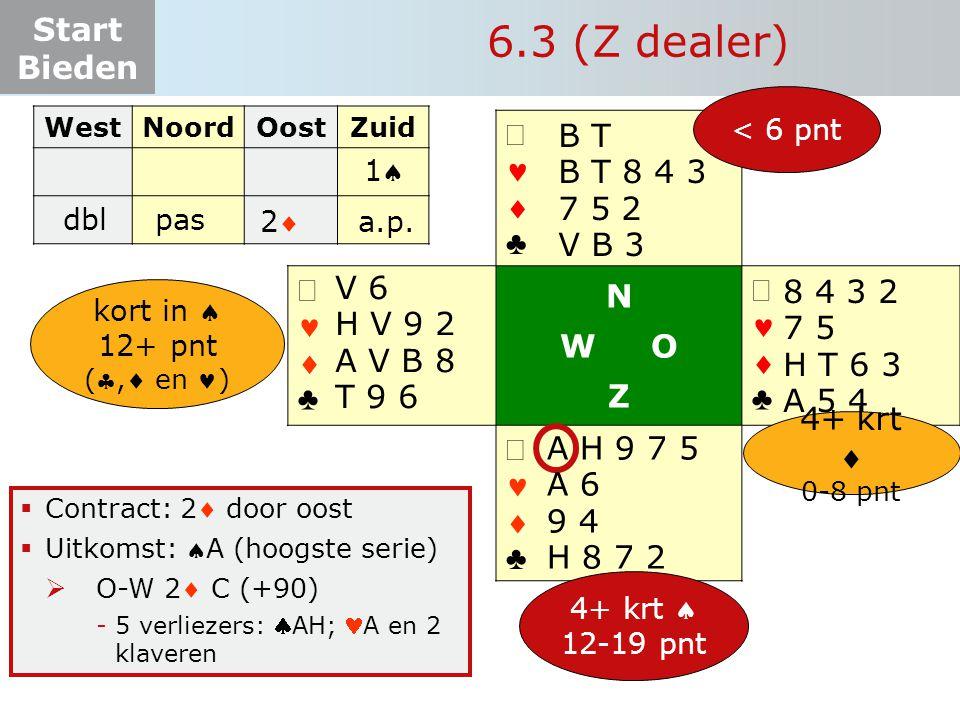 Start Bieden   ♣   ♣ N W O Z   ♣   ♣  Contract: 2 door oost  Uitkomst: A (hoogste serie)  O-W 2 C (+90) -5 verliezers: AH; A en 2 klave
