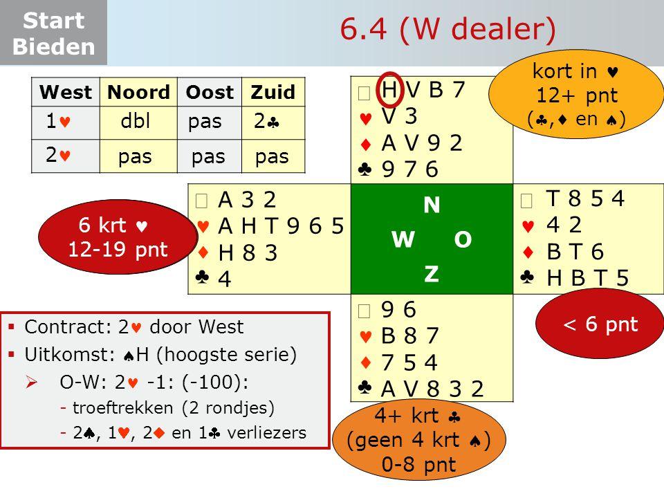 Start Bieden   ♣   ♣ N W O Z   ♣   ♣  Contract: 2 door West  Uitkomst: H (hoogste serie)  O-W: 2 -1: (-100): -troeftrekken (2 rondjes) -2