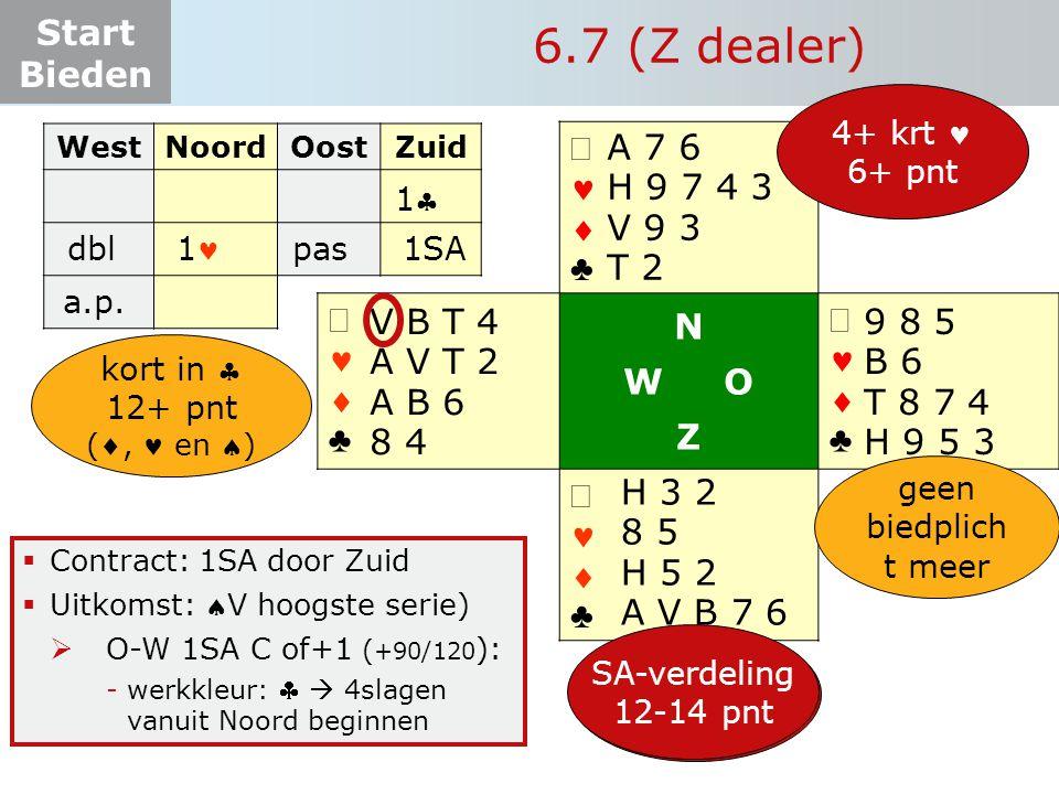 Start Bieden   ♣   ♣ N W O Z   ♣   ♣  Contract: 1SA door Zuid  Uitkomst: V hoogste serie)  O-W 1SA C of+1 ( +90/120 ): -werkkleur:   4sl