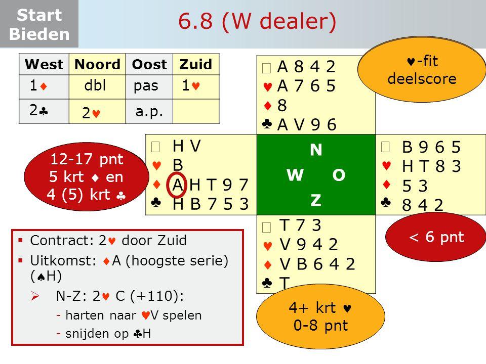 Start Bieden   ♣   ♣ N W O Z   ♣   ♣  Contract: 2 door Zuid  Uitkomst: A (hoogste serie) (H)  N-Z: 2 C (+110): -harten naar V spelen -sni
