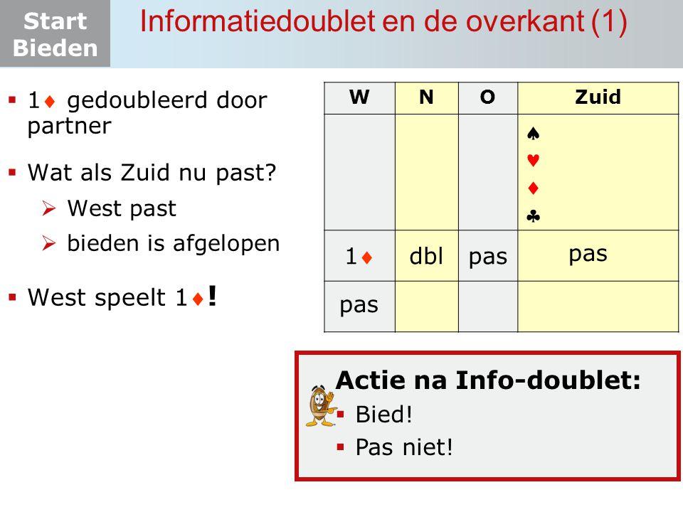 Start Bieden Informatiedoublet en de overkant (1)  1 gedoubleerd door partner  Wat als Zuid nu past?  West past  bieden is afgelopen  West speel