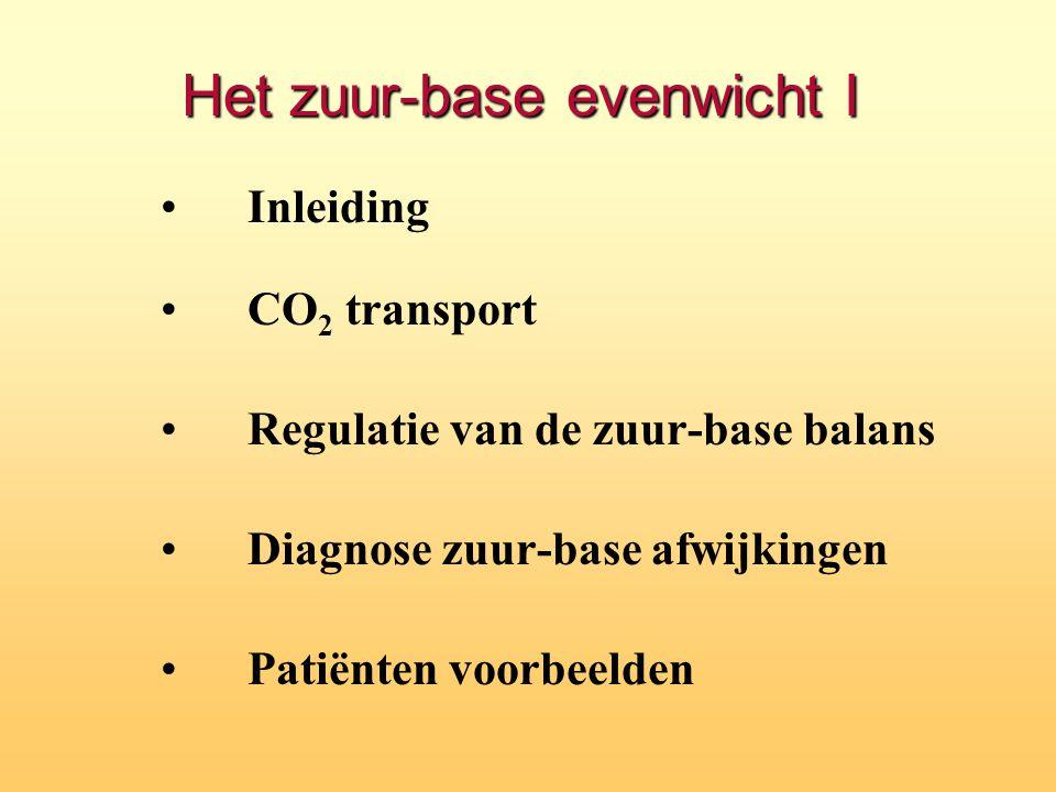 Het zuur-base evenwicht I Inleiding CO 2 transport Regulatie van de zuur-base balans Diagnose zuur-base afwijkingen Patiënten voorbeelden