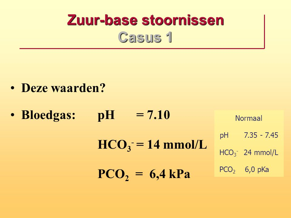 Zuur-base stoornissen Casus 1 Deze waarden? Bloedgas: pH = 7.10 HCO 3 - = 14 mmol/L PCO 2 = 6,4 kPa Normaal pH7.35 - 7.45 HCO 3 - 24 mmol/L PCO 2 6,0