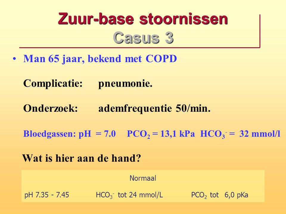 Zuur-base stoornissen Casus 3 Man 65 jaar, bekend met COPD Complicatie:pneumonie. Onderzoek:ademfrequentie 50/min. Bloedgassen: pH = 7.0PCO 2 = 13,1 k