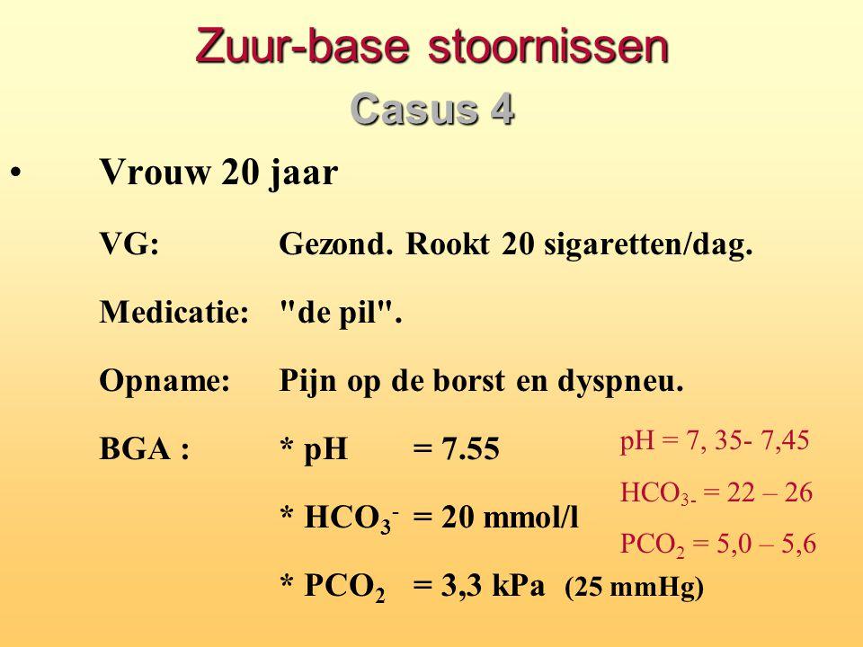 Zuur-base stoornissen Casus 4 Vrouw 20 jaar VG:Gezond. Rookt 20 sigaretten/dag. Medicatie: